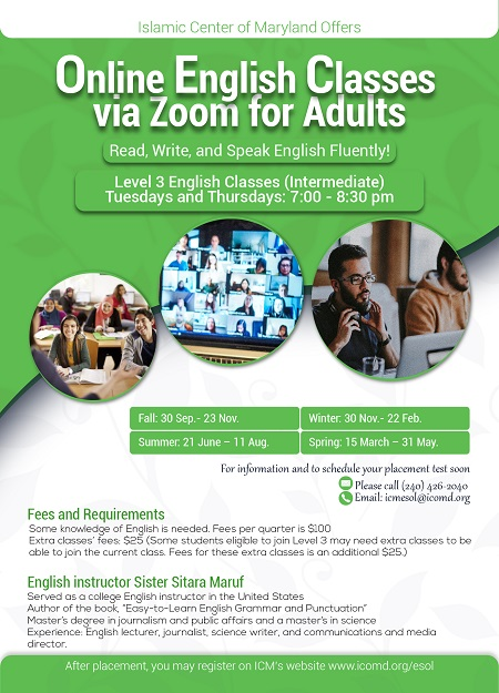 Online English Classes (ESOL) by ICM: Register Now!