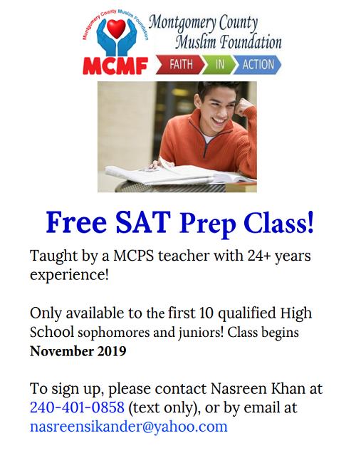 Free SAT Prep Class By MCMF