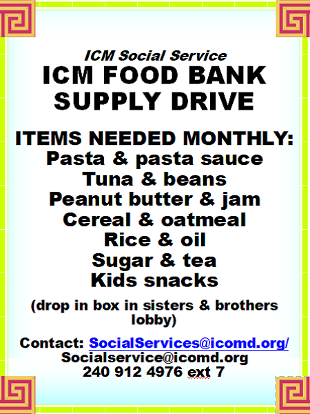 ICM Food Bank Supply Drive