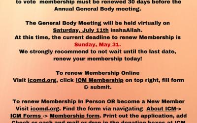 ICM Membership Renewal Reminder