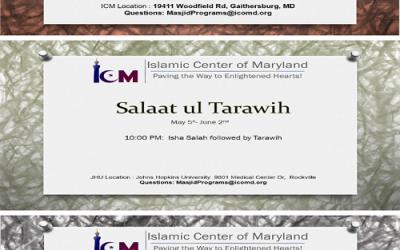 Tarawih Prayer at ICM, JHU & Clarksburg