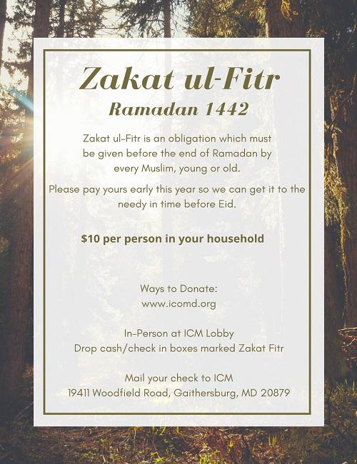 Zakat Ul Fitr Ramadan 1442
